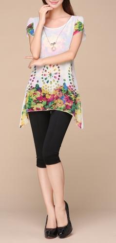 Nova moda mulheres blusa Chiffon Floral impressão Hollow sobreposição pétala mangas Tops branca