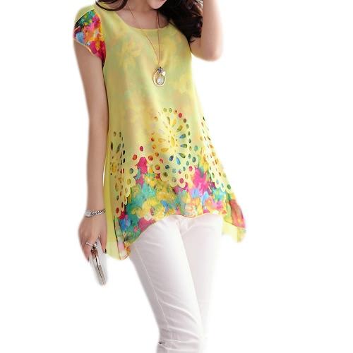 Nueva moda mujeres blusa de Gasa Floral grabado hueco recubierto pétalo mangas Tops amarillo
