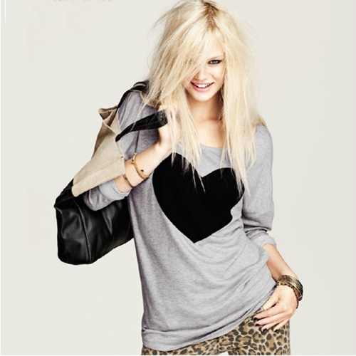 New Fashion Women T-shirt Love Heart Print Long Sleeve Casual Tops Gray