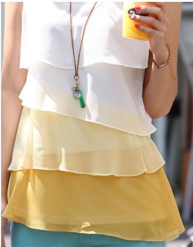 Nuevas mujeres linda chica de Gasa Tank Tops en cascada de volantes blusa sin mangas camiseta amarilla