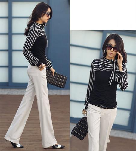 Moda coreana las mujeres dama delgada camiseta Puff manga larga cuello Polo raya Tops negro