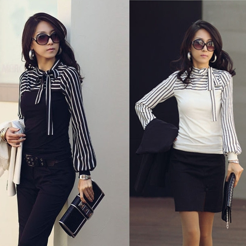 Korean Fashion Women Lady Slim T-Shirt Puff Long Sleeve Polo Neck Stripe Tops Black