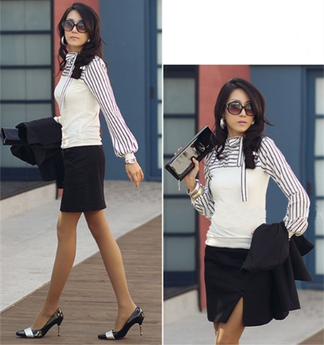 Moda coreana las mujeres dama delgada camiseta Puff manga larga cuello Polo raya Tops blanco