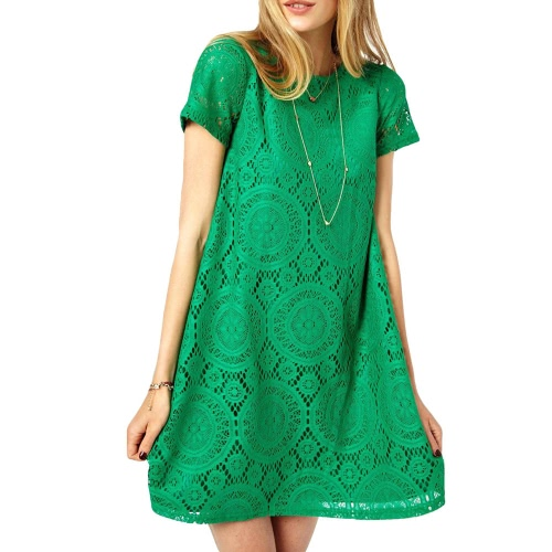 New Fashion Women Lace Dress Short Sleeve Mini Party Dress One-piece Swing Dress Green