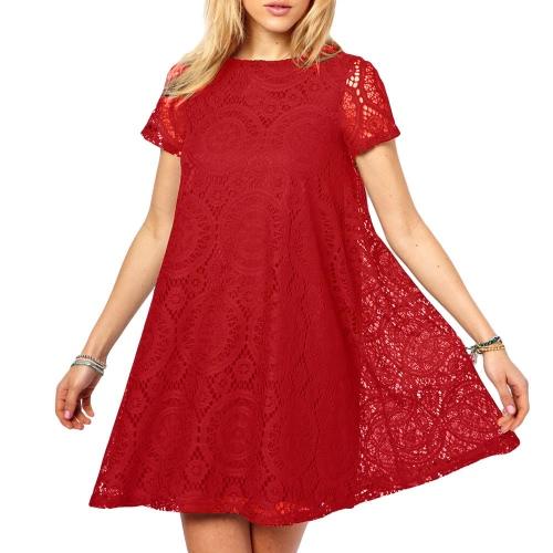 Nueva moda mujer encaje vestido manga corta mini-vestido de fiesta Swing una pieza vestido rojo