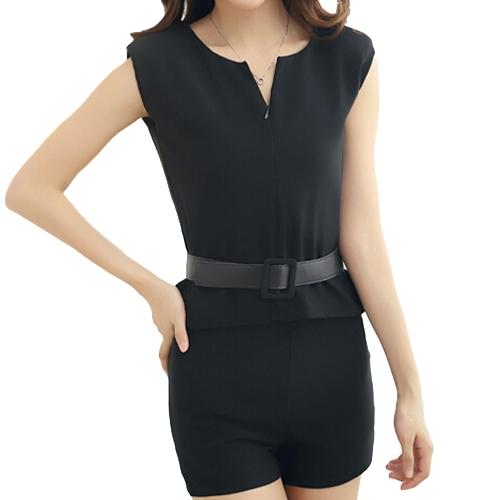 Moda mujeres dos piezas V cuello cremallera delantera Shorts Top sin mangas pantalones Twin Set con cinturón negro