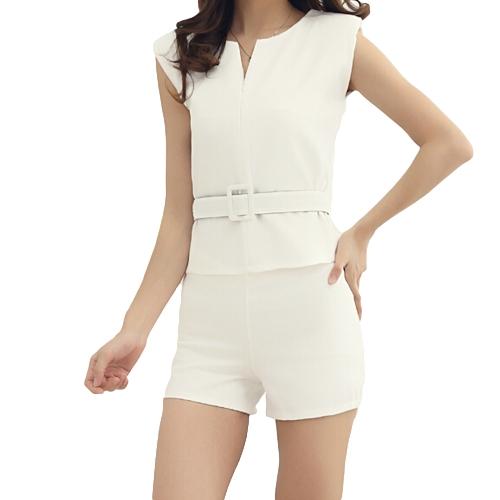 Moda mujeres dos piezas V cuello cremallera delantera Shorts Top sin mangas pantalones Twin Set con cinturón blanco