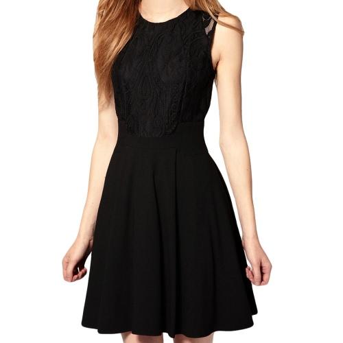 Moda sexy mujeres Vestido de Gasa y encaje superior tanque sin mangas vestido patinador vestido negro