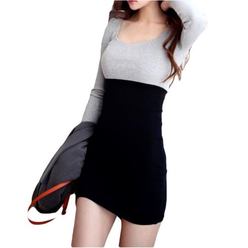 Las mujeres coreanas moda delgado vestido Puff manga larga contraste Patchwork escote redondo Mini vestido gris & negro