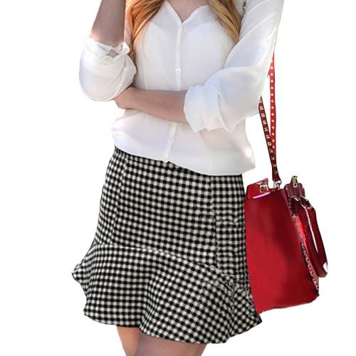 Europa estilo mujeres falda verificación patrón de cuadros Mini falda corta OL Casual negro