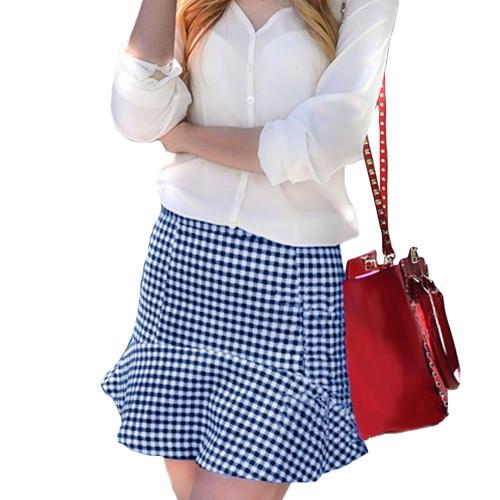Europa estilo mujeres falda verificación patrón de cuadros Mini falda corta OL Casual azul
