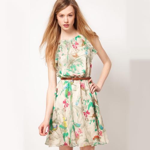Nuevo verano mujer vestido de Gasa Floral grabado sin mangas Mini tanque vestido blanco