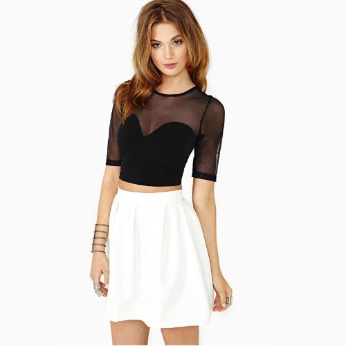 Hot Sexy Women Crop Top Mesh Cutout Sweetheart Neckline Short Sleeve Tops Black