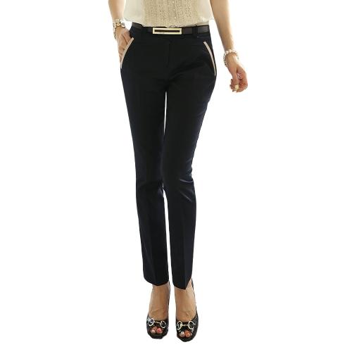 Casual OL Women Long Pants Contrast Details Slim Trousers OL Style Pencil Pants with Belt Black