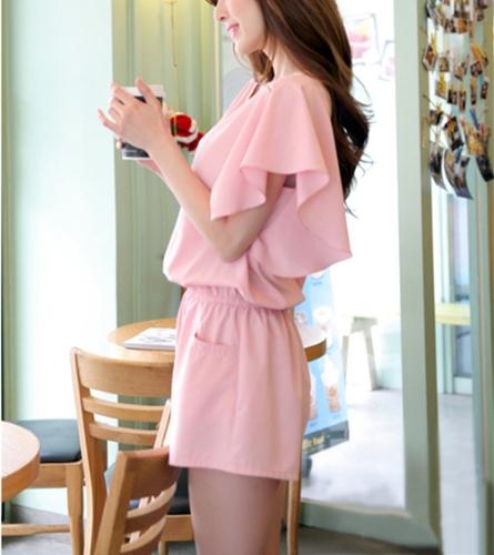 Nuevo lindo mujeres mono mariposa mangas lateral bolsillos cintura elástica Playsuit breve Pelele corto color de rosa
