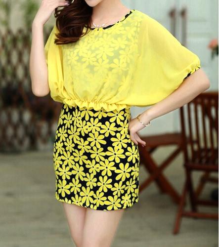 TOMTOP / Moda mulheres vestido de Chiffon Floral impressão do falso duas peças Batwing manga redonda decote vestido Mini amarelo