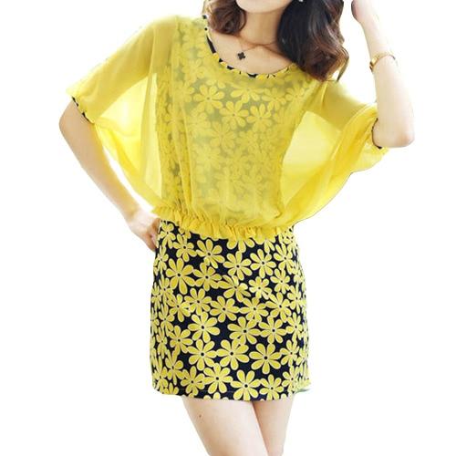 Moda mujer vestido de Gasa Floral grabado imitación dos piezas manga del Batwing redondo escote Mini vestido amarillo