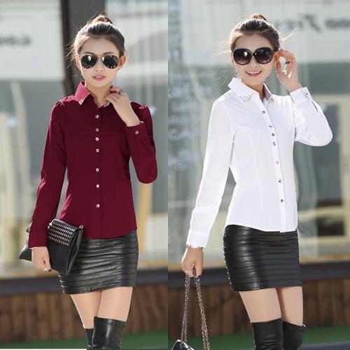 Новая Модная Женская OL Рубашка с длиннымм рукавами отложным воротником пуговицами бордовый / белый