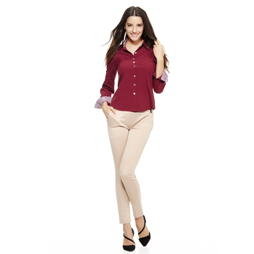 Neue Mode Frauen OL Shirt Langarm Turn-Down-Kragen Button Bluse Tops Burgund/weiß