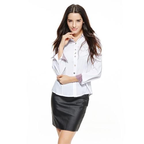 Nueva moda mujeres OL camisa manga larga cuello descubierta botón blusa Tops Borgoña blanco