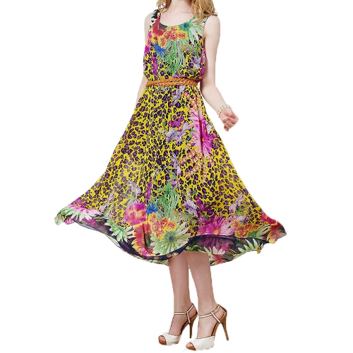 23556df7af8 New Fashion Women Maxi Dress Bohemian Chiffon Floral Print Sleeveless Tank  Dress Yellow