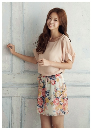 New Fashion Women Dress Chiffon Top Contrast Floral Print Skirt Stretch Waist Batwing Sleeves Pink