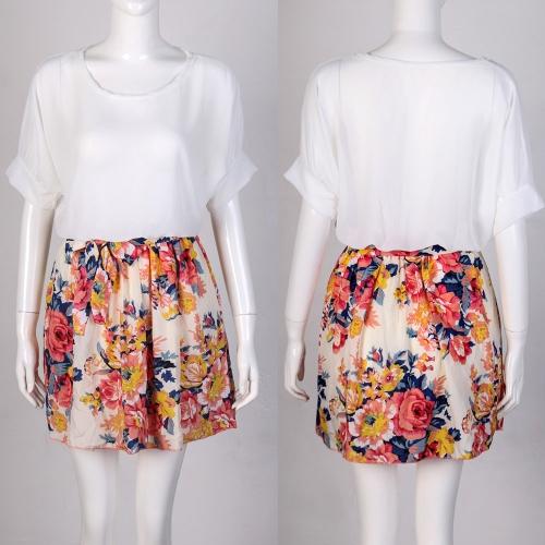 Nueva moda mujer vestido de Gasa contraste superior falda impresión Floral cintura elástica Batwing mangas blanco
