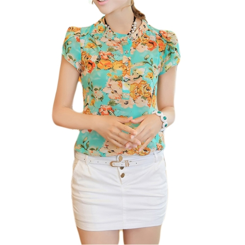 Fashion Casual Women Chiffon Blouse Stand Collar Short Sleeve Floral Print Tops Green & Yellow
