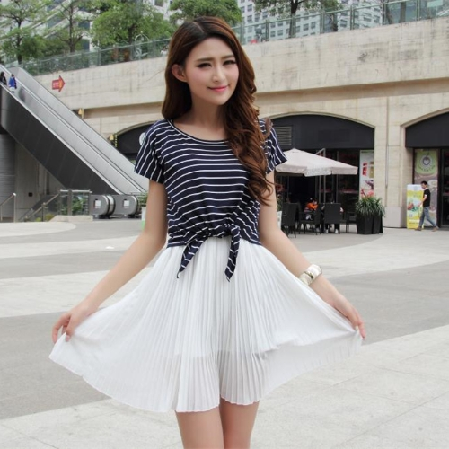 Linda moda mujeres Mini vestido de gasa plisada tanque vestido blanco dos piezas camiseta a rayas