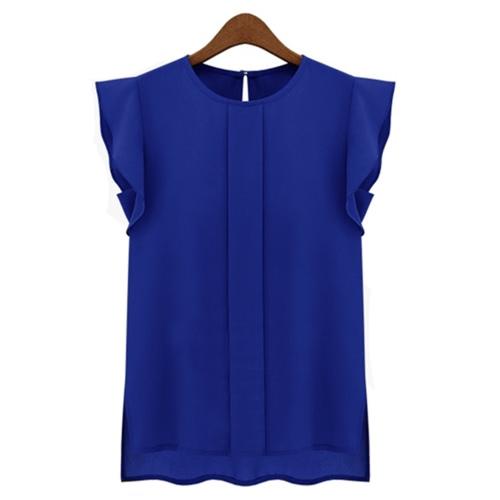 Moda mujeres OL estilo camisa gasa ronda cuello mariposa corta manga Casual blusa Tops azul