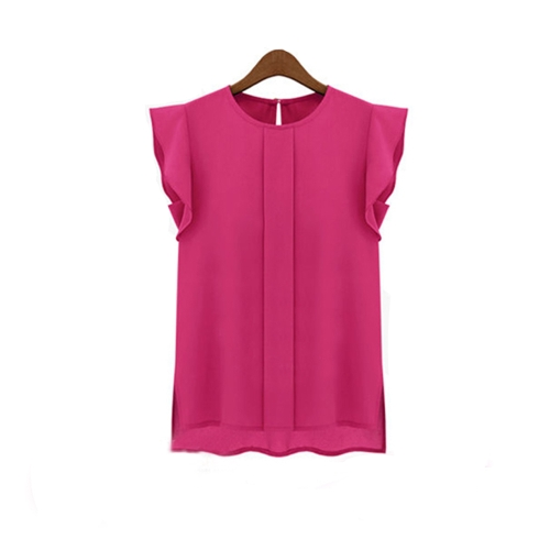 Fashion Women OL Style Chiffon Shirt Crew Neck Short Butterfly Sleeve Casual Blouse Tops Rose