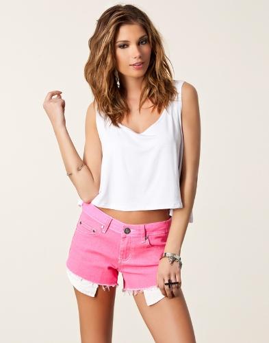 Sexy Mode Frauen Zuschneiden oberen Punk Herz ausgeschnitten zurück ärmelloses T-shirt Unterhemden weiß kurz