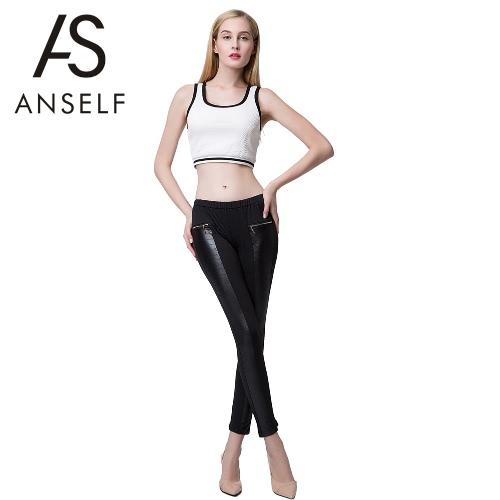 Moda mujeres polainas cuero Look paneles elásticos de la cintura elástico pitillo pantalones rosa/Borgoña/negro