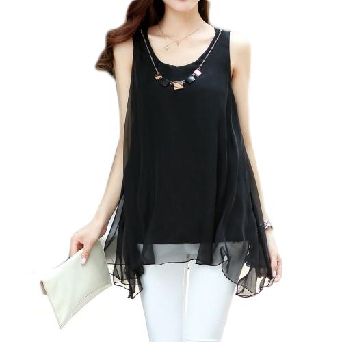 Nueva moda mujeres blusa de Gasa Color caramelo dobladillo Irregular sin mangas blusas sueltas negro