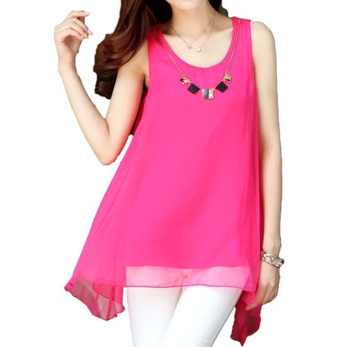 New Fashion Women Chiffon Blouse Candy Color Sleeveless Irregular Hem Loose Tank Tops Rose