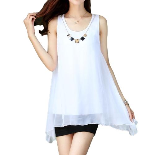 Nueva moda mujeres blusa de Gasa Color caramelo dobladillo Irregular sin mangas sueltas las tapas del tanque blanco