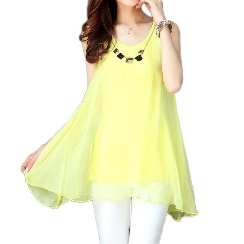Nueva moda mujeres blusa de Gasa Color caramelo dobladillo Irregular sin mangas sueltas camisetas amarillo
