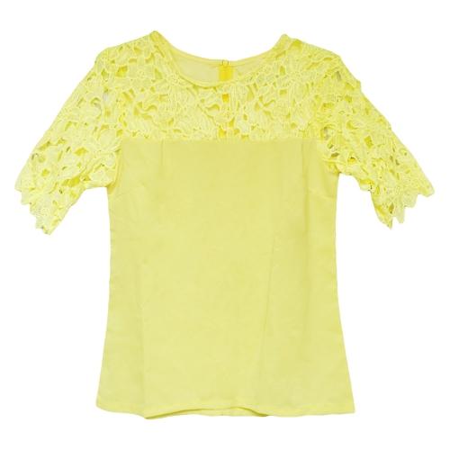 Nueva moda las mujeres blusa de Gasa encaje hueco manga corta ronda cuello camisa tapas amarillas