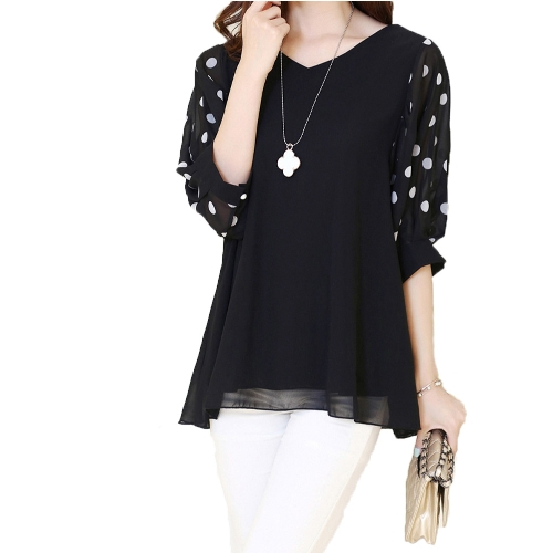Moda mulheres blusa Chiffon Polka Dot Batwing manga com decote em v camisa solta Tops preto