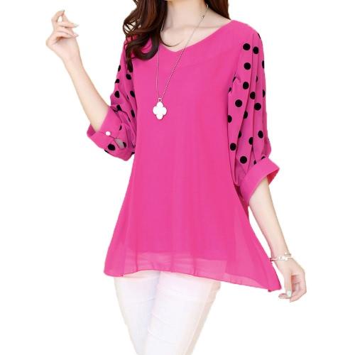 Tops de moda las mujeres blusa de Gasa lunares manga del Batwing V-cuello camisa suelta rosa