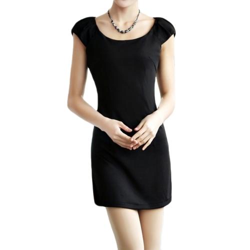 Las mujeres de moda delgado vestido cuello redondo tapa mangas equipadas elegante vestido negro