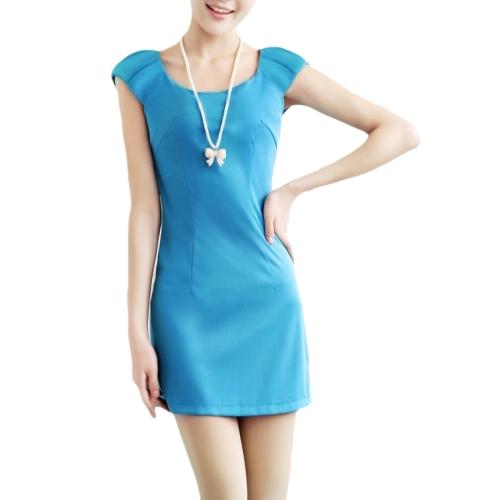 Las mujeres de moda delgado vestido cuello redondo tapa mangas equipadas elegante vestido azul