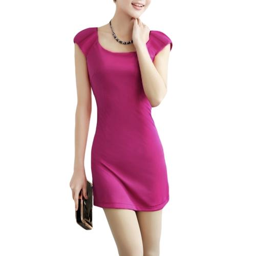 Las mujeres de moda delgado vestido cuello redondo tapa mangas equipadas elegante vestido púrpura