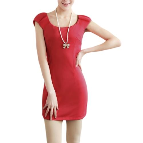 Las mujeres de moda delgado vestido de cuello redondo tapa mangas equipadas elegante vestido rojo