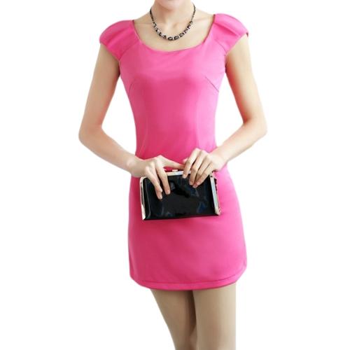 Las mujeres de moda delgado vestido cuello redondo tapa mangas equipadas elegante vestido rosa