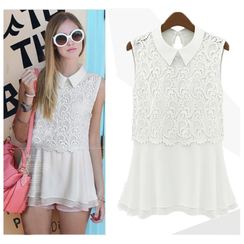 Fashion Women Chiffon Blouse Crochet Lace Turn-down Collar Sleeveless Top Cute Slim Shirt White