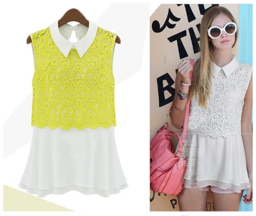 Moda blusa de Gasa de las mujeres Crochet Collar de encaje de dé vuelta-abajo camisa delgada lindo Top sin mangas amarillo
