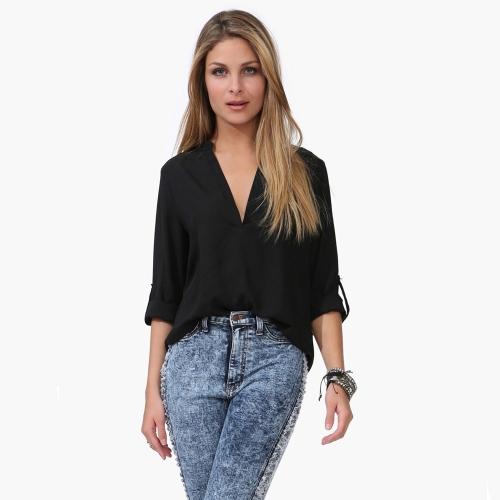 Nueva moda mujeres blusa de Gasa Sexy escote en v soporte de cuello manga larga camisa tapas negro