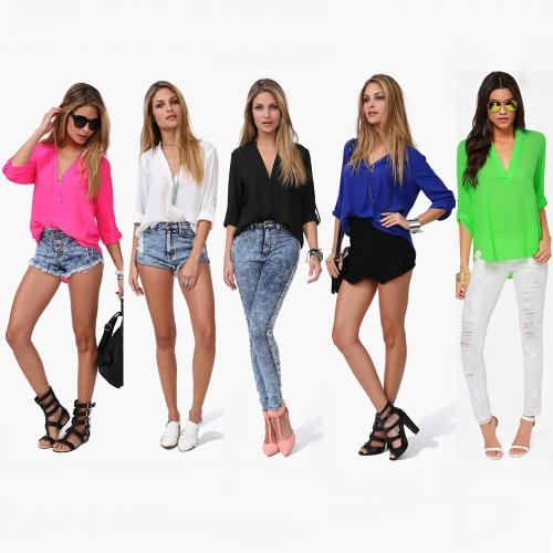 New Fashion Women Chiffon Blouse Sexy V-Neck Stand Collar Long Sleeve Shirt Tops Blue