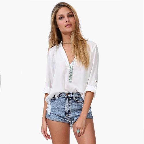 Nueva moda las mujeres blusa de Gasa Sexy escote en v Collar manga larga camiseta Tops blanco